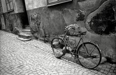 Abandoned bike on alley Abandoned, Bicycle, Black And White, Scooters, Painting, Places, Travel, Weather, Left Out