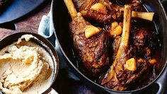 Lightly spiced, fruity Moroccan-style lamb shanks make a hearty autumn dish. The chickpea mash is an ideal accompaniment. Moroccan Lamb Shanks, Lamb Shank Recipe, Off The Bone, Fall Dishes, Moroccan Style, Wine Recipes, Spices, Beef, Kitchens