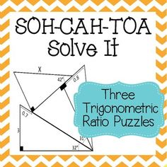 This is a set of 3 trigonometric ratio puzzles. Students must start at the only given complete side and use their knowledge of sine, cosine, and tangent to correctly solve for x. These are difficult puzzles that are designed for a Pre-AP or AP class.