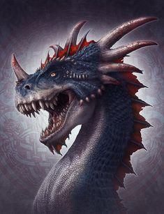 CG_Art_and_Illustrations_of_Kerem_Beyit ~ Dragon/Dinosaur? Mythological Creatures, Fantasy Creatures, Mythical Creatures, Creature Fantasy, Art Cg, Dragon Occidental, Dragon Medieval, Figurine Dragon, Cool Dragons