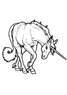 Coloriage d'une licorne qui fait la révérence