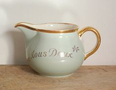Vintage french milk pot Nous deux Both of us by 5LittleCups