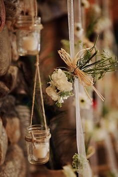 I also last-minute created the hanging twine/mason jar candles in the background - hung from each side of the stone fireplace