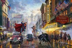 Thomas Kinkade Studios Batman Superman Wonder Woman 24 x 36 G/P LE Paper Wonder Woman Art, Superman Wonder Woman, Batman And Superman, Dc Comics, Dc Trinity, Thomas Kinkade, Gold Art, The Villain, Character Drawing