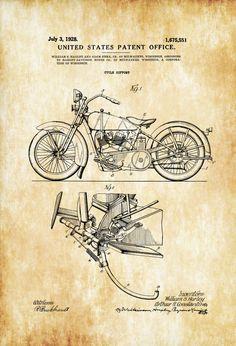 Harley Davidson Patent Patent Print Wall Decor by PatentsAsPrints Harley Davidson Kunst, Harley Davidson Engines, William Harley, Wall Prints, Poster Prints, Blue Prints, Harley Bikes, Patent Drawing, Technical Drawing