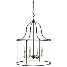 """Currey and Company Fitzjames 25"""" Wide Lantern Chandelier"""