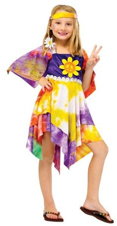 Description #121212 Give your daughter some flower power. She may not know the era of peace and love, but she will sure look sweet. Includes: Dress Headband Si