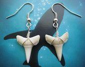 Shark Tooth Earrings, Modern Day Oceanic White Tip Shark, Silver Plated. $9.49, via Etsy.