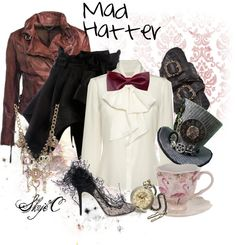 Outfit inspired by the character Mad Hatter from Disney's Alice in Wonderland. Fandom Fashion, Geek Fashion, Fashion Moda, Lolita Fashion, Disneybound Outfits, Disney Outfits, Disney Clothes, Casual Cosplay, Cosplay Outfits