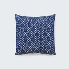"""Del Mar Pillow, handwoven in Mexico by the Weavers of Chiapas,  handwoven using a traditional backstrap loom, an approach that is rarely used due to its complexity. In fact, this craft is so intricate that it takes over four days to embroider just one pillow. Cotton insert included. 20""""x20"""", royal blue embroidery on white background, $225"""