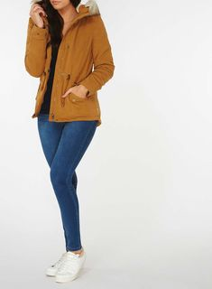 Womens **Only Mustard 'Lucca' Parka Coat- Mustard