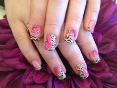 Acrylic nails with leopard freehand nail art and one stroke flowers by bgenia