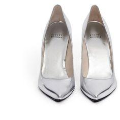 Stuart Weitzman 'Nouveau' metallic leather pumps ($320) ❤ liked on Polyvore featuring shoes, pumps, heels, high heels, zapatos, high heel pumps, polish leather shoes, leather shoes, shiny shoes and pointed heel pumps