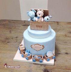 Toys box - Cake by Naike Lanza Torta Baby Shower, Baby Shower Cakes For Boys, Baby Boy Cakes, Cookie Cake Birthday, First Birthday Cakes, Fondant Cakes, Cupcake Cakes, Christening Cake Boy, Box Cake