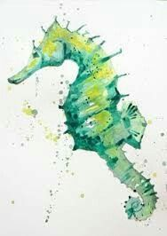 Evoke the deep greens of the ocean by painting this simple green seahorse in watercolor Join me as I guide you from start to finish on your Seahorse Painting, Seahorse Art, Seahorses, Seahorse Drawing, Painting Abstract, Dolphin Painting, Easy Watercolor, Watercolor Animals, Watercolor Lesson