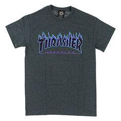 Thrasher Flame Charcoal Heather Men's Skateboard T-Shirt (Large)