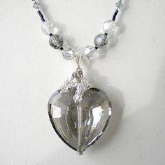 Swarovski Crystal Black Diamond Heart Necklace w Black Diamond Silver Shadow Crystals