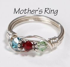 Mother's Ring 3 Birthstones: Sterling Silver Mother's Family Ring with Swarovski Birthstone Crystals Wire Wrapped Jewelry, Wire Jewelry, Beaded Jewelry, Jewelry Rings, Jewelery, Handmade Jewelry, Amber Jewelry, Simple Jewelry, Etsy Jewelry