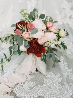 Eucalyptus, peony and rose wedding bouquet: Photography : Simply Sarah Photography Read More on SMP: http://www.stylemepretty.com/little-black-book-blog/2017/01/27/rustic-romantic-georgia-winter-wedding/