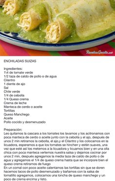 Receta Enchiladas SUIZAS...