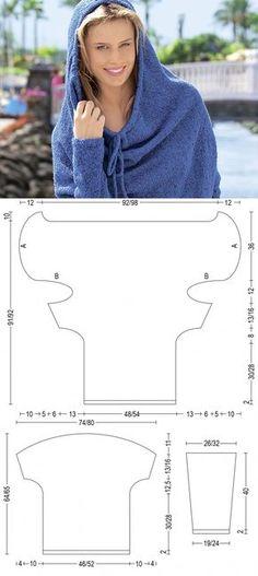 Джемпер с цельновязаным капюшоном на кулиске - схема вязания спицами. Вяжем Джемперы на Verena.ru