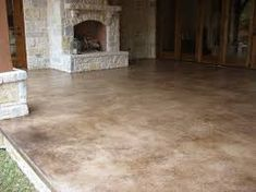 Wayne's patio concrete stain - Solcrete, LLC House-Painting Tips Seasons wreak havoc on a home's ext Acid Stained Concrete Patio, Outdoor Concrete Stain, Concrete Stain Colors, Concrete Patio Designs, Cement Patio, Backyard Patio Designs, Colored Concrete Patio, Concrete Lamp, Patio Design