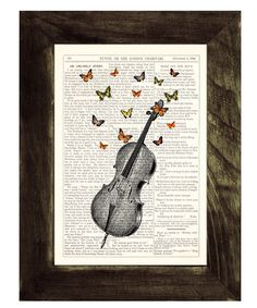 Butterflies over cello collage Print on Vintage Dictionary art