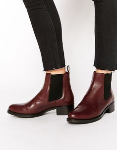 Image 1 ofDune Peppie Burgundy Leather Flat Chelsea Boots