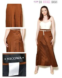 maxi skirt boho high waisted women clothing 90s clothing bohemian ball skirt evening formal maxi Brown shiny Size XL/42 by SixVintageChicks on Etsy