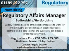 Excellent Opportunity For A Regulatory Affairs Senior Specialist