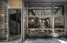 Restaurant Facade, Restaurant Design, Brewery Design, Cafe Restaurant, Modern Industrial Decor, Estilo Industrial, Thessaloniki, Material Design, Lounge Design