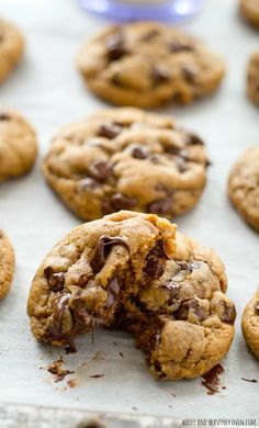 These classic chocolate chip cookies are seriously so thick and chewy you'd never guess that they're made healthy with coconut oil and contain NO butter! @WholeHeavenly