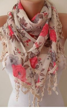 floral lace scarf very cute! I'm all about the scarf. Lace Scarf, Floral Scarf, Floral Lace, Scarf Crochet, Fringe Scarf, Crochet Trim, Floral Fabric, Look Fashion, Fashion Beauty