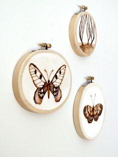 Woodburned butterflies