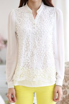Refreshing Women's Stand Collar White Lace Splicing Chiffon Long Sleeve Blouse
