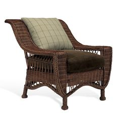 RL Cape Lodge Wicker Chair  Don't love the back cushion- but I like the sweep of the back
