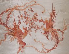 Chinese phoenix embroidered panel