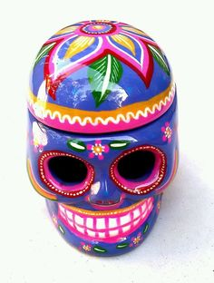 CERAMIC SKULL, NEW by JHF (Handmade) for DAY of the DEAD. #Mexican