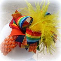 Over the Top Ostrich Feather Hair Bow by MyBellaBellaBowtique, $16.95