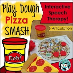 Articulation smash mats: 51 Play-Doh pizza mats targeting 23 phonemes and 1 blank play dough pizza mat to personalize. These play dough mats are used to engage children in interactive fun while working on speech sounds and providing fine motor practice as well.