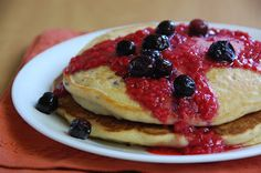 The Healthy Bites: Blueberry Pancakes with Raspberry Sauce