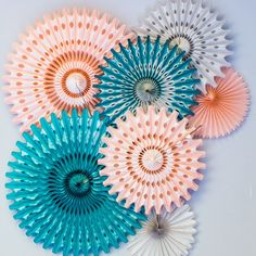 Tissue Paper Fan Set in Peach, Teal and Grey