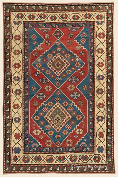 KAZAK, Southern Central Caucasian Antique Rug x — Circa 1900 - Claremont Rug Company Persian Carpet, Persian Rug, Asian Rugs, Indoor Rugs, Tribal Rug, Deep, Vintage Rugs, Rugs On Carpet, Bohemian Rug