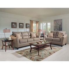 Aaronu0027s   Tempo Living Room Collection Sofa U0026 Loveseat, Coffee Table, 2 End  Tables, 2 Lamps, Matching Rug