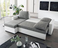 Ecksofa - weiß-grau - Liegefunktion