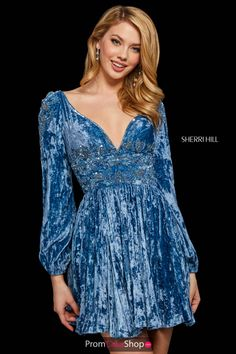 Sherri Hill 53063 Long Sleeve Short Homecoming Dress Style 53063 from Sherri Hill is a long sleeve short homecoming dress with beading and a V neck back and front. Sherri Hill Prom Dresses Short, Sherri Hill Gowns, Short A Line Dress, Dressy Dresses, Club Dresses, Pageant Gowns, Perfect Prom Dress, Online Dress Shopping, Shopping Sites