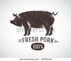 "Graphic pig and labeled: ""Fresh pig"". Vector illustration, drawn by hand. - stock vector"