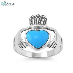 3mm Claddagh Ring 925 Sterling Silver Synthetic Blue Turquoise Lab Created Promise Wedding Engagement Anniversary Ring Gift