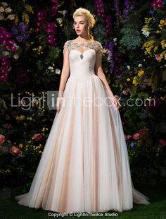Ball Gown Jewel Court Train Tulle Wedding Dress (2310069) - USD $ 449.99