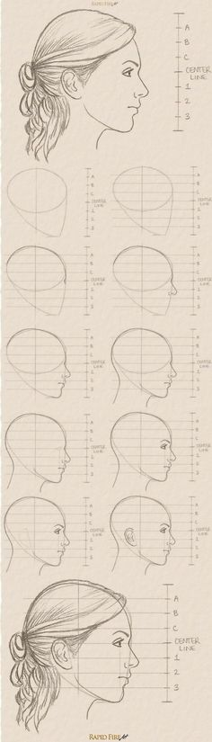 11 steps on how to draw a female face (side view) Zijaanzicht van gezicht<br> Learn how you can draw realistic female faces quickly. This tutorial takes you through a step by step process with detailed explanations and examples. Drawing Lessons, Drawing Techniques, Drawing Tips, Drawing Reference, Drawing Ideas, Design Reference, Hair Reference, Face Drawing Tutorials, Sketching Tips